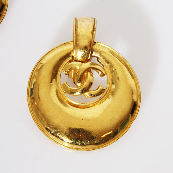 1993 Gold Chanel Disc Clip-On Earrings