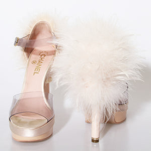 Light Pink Feather Chanel Heels