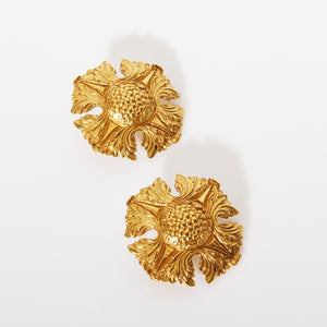 Chanel Floral Cross Clip On Earrings
