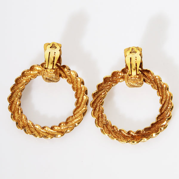 Chanel Twisted Hoop Clip On Earrings