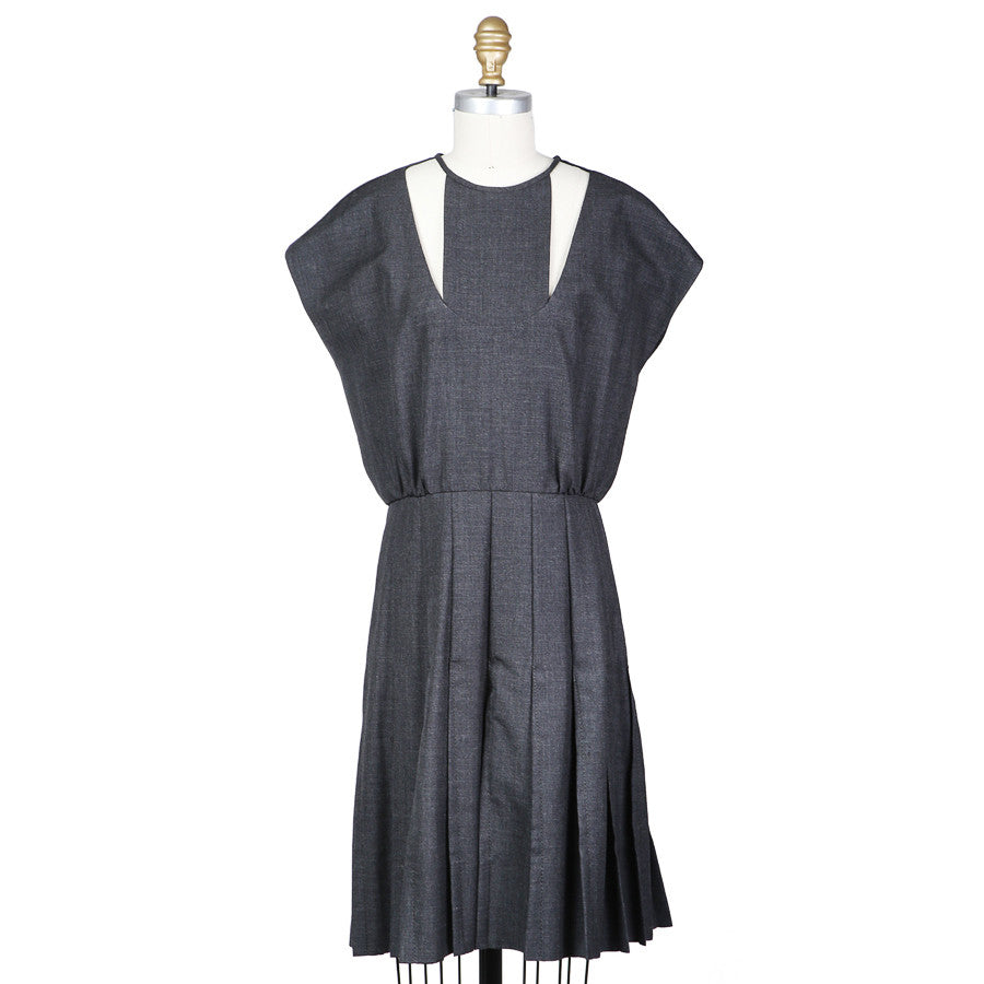 Pleated Flannel Dress circa 1980s