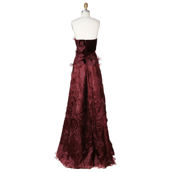 Strapless Velvet Gown with Organza Petals