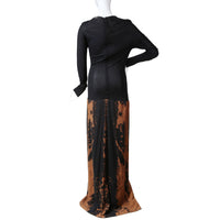 Long Sleeve Gown with Bleach Dye Skirt