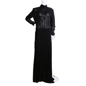 Pin Striped Burned Out Velvet Gown