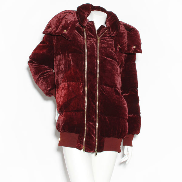 Stella McCartney Velvet Zip Puffer Coat