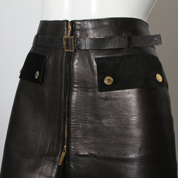 Gucci Belted Black Leather Skirt