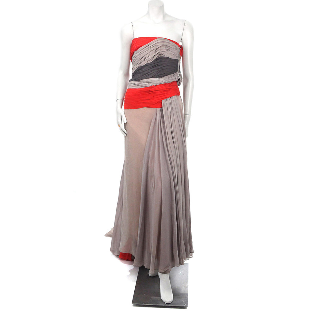 Two-Tone Layered and Gathered Silk Chiffon Gown 1938