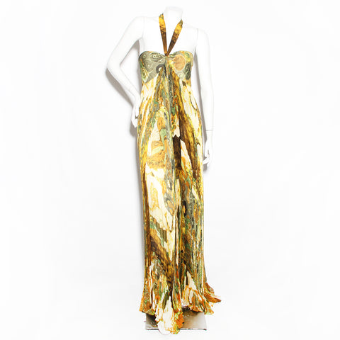 Cavalli Pleated Halter Gown