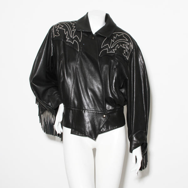 Rare 1984 Claude Montana Western Leather Jacket