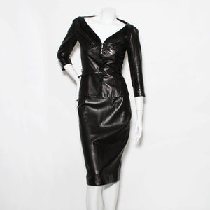 Dior Leather Skirt Suit