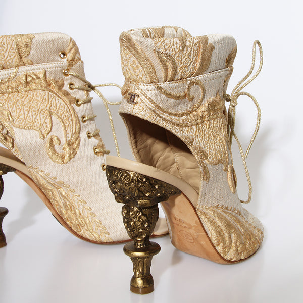 Chanel Baroque Lace-Up Peep Toe Heels