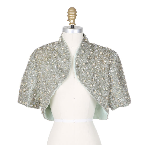 BEADED HALTER DRESS AND JACKET circa 1980s