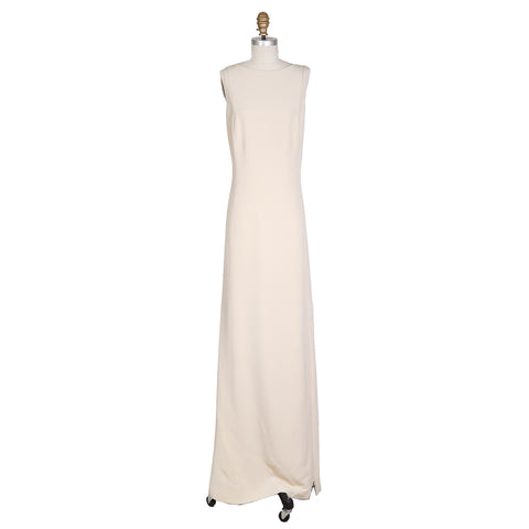 Nude Sleeveless Gown with Zipper Straps