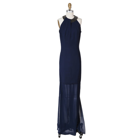 Navy Halter Gown with Chain Collar