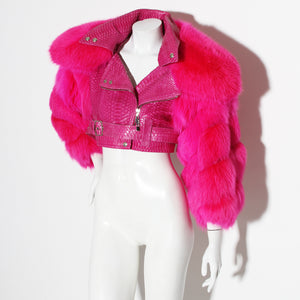 Dior Hot Pink Fur/Snakeskin Jacket