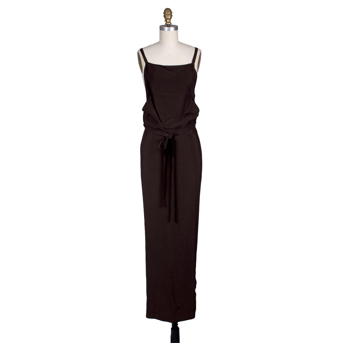 Dark Brown Maxi Apron Dress