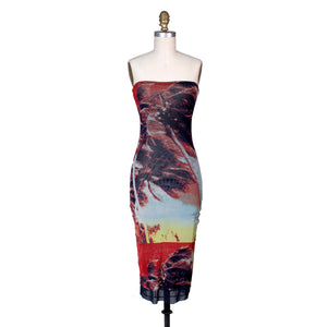 Tropical Print Mesh Strapless Dress