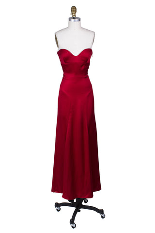 Red Satin Strapless Gown