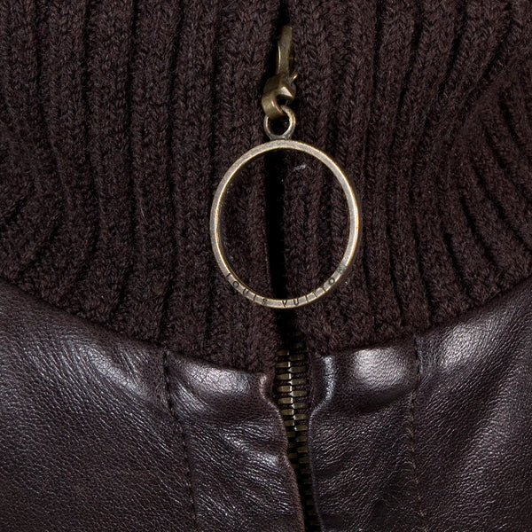 Dark Brown Leather and Knit Wool Bomber