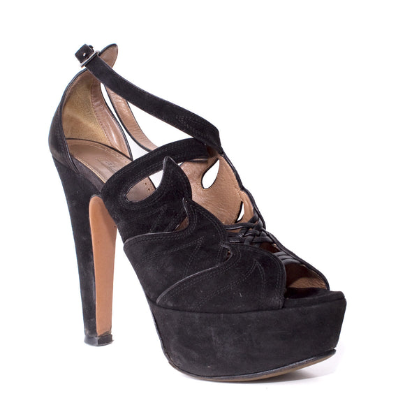 Black Suede and Leather Platforms Size