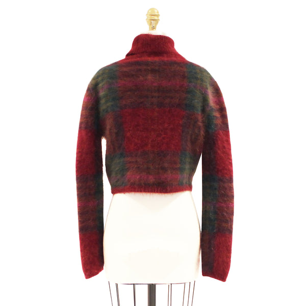 Mohair Plaid Cropped Sweater