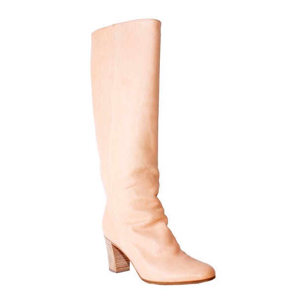 Baby Pink Leather Knee High Boots Size 37