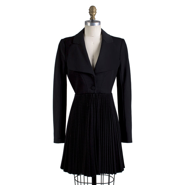 Accordion Pleated Fit n Flare Coat