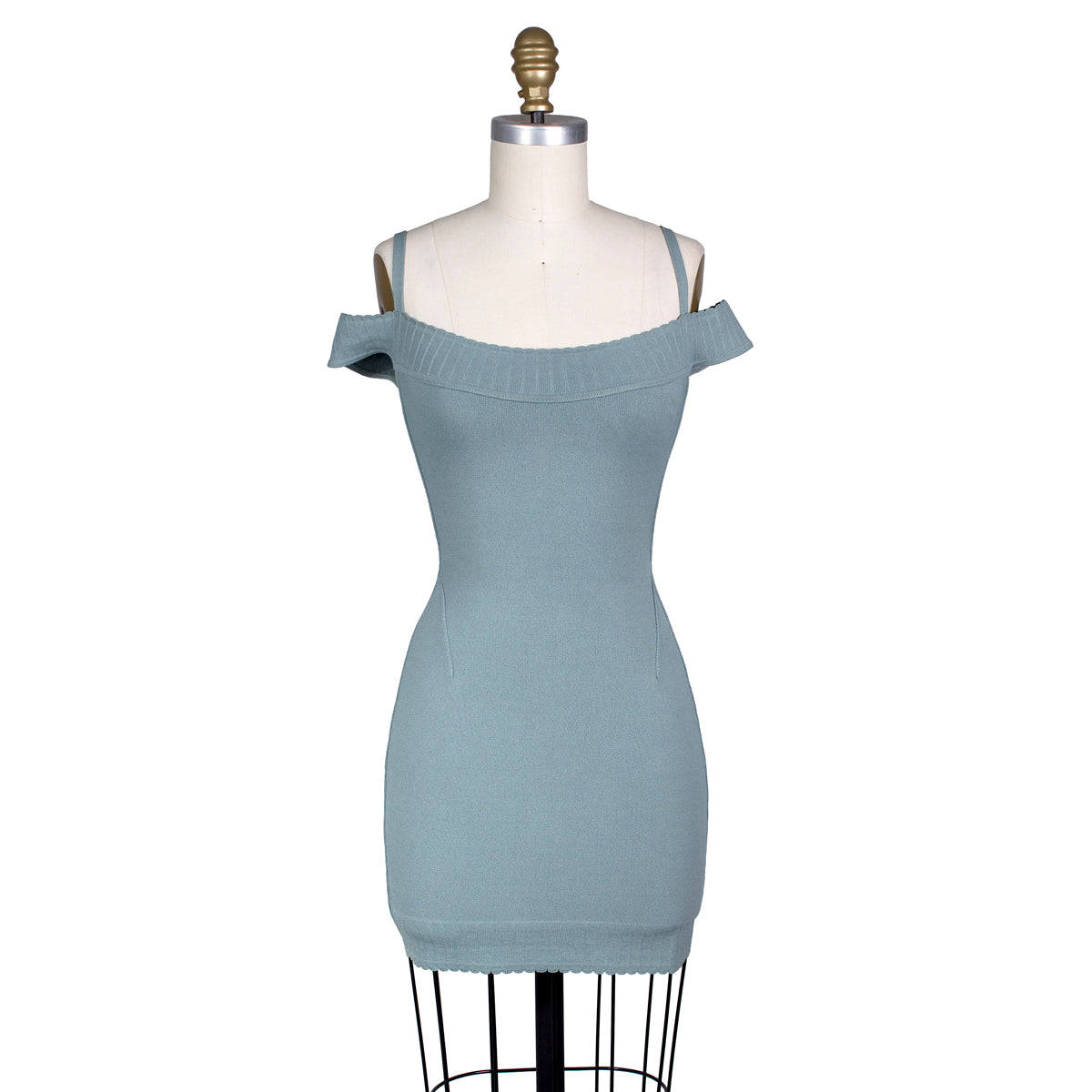 Seafoam Green Stretch Knit Bodycon Dress with Off Shoulder Straps