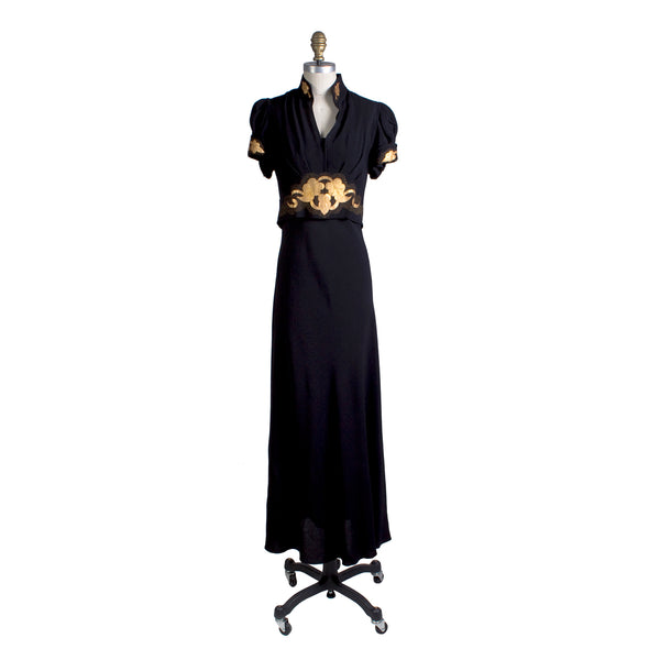 Vintage 1940s Crepe Dress with Gold Emblem