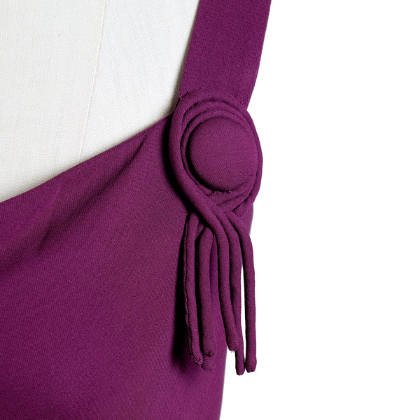 Vintage Purple Cowel Neck Gown with Tassels