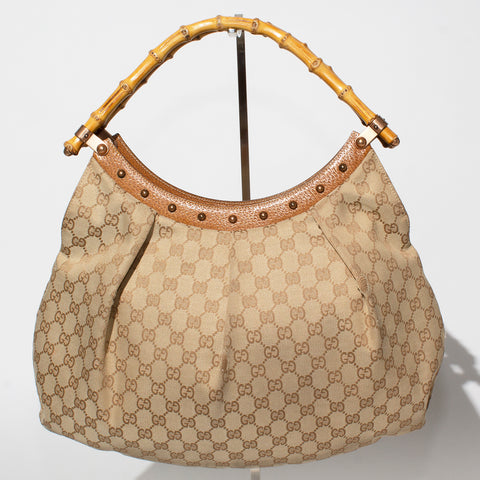 Gucci Monogram Dual Bamboo Handle Bag