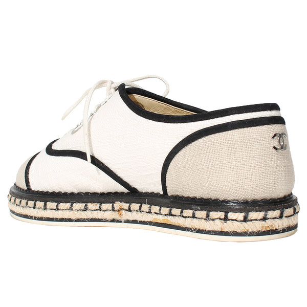 Chanel Canvas Lace Up Espadrille Sneaker Flats, Contemporary