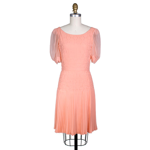 Peach Chiffon Dress with Pleating by Coco