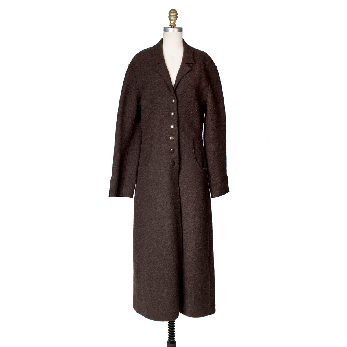 Long Brown Wool Coat with Style Seams, Fall 1999