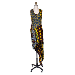 Multi Print Asymmetrical Dress, Spring 1992