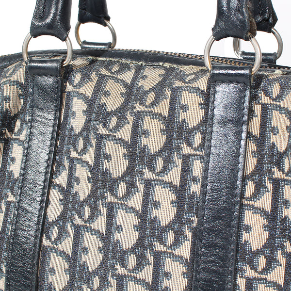 Vintage Dior Navy Monogram Boston Bag Circa 1970's