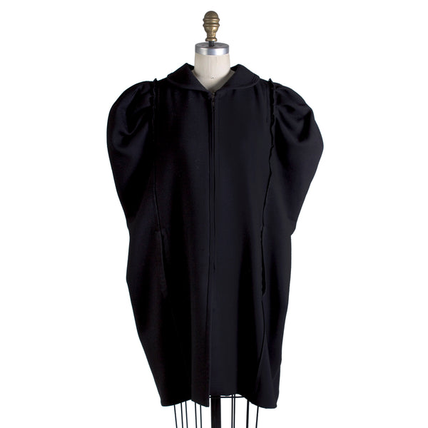 Black Wool Cape with Puff Shoulder