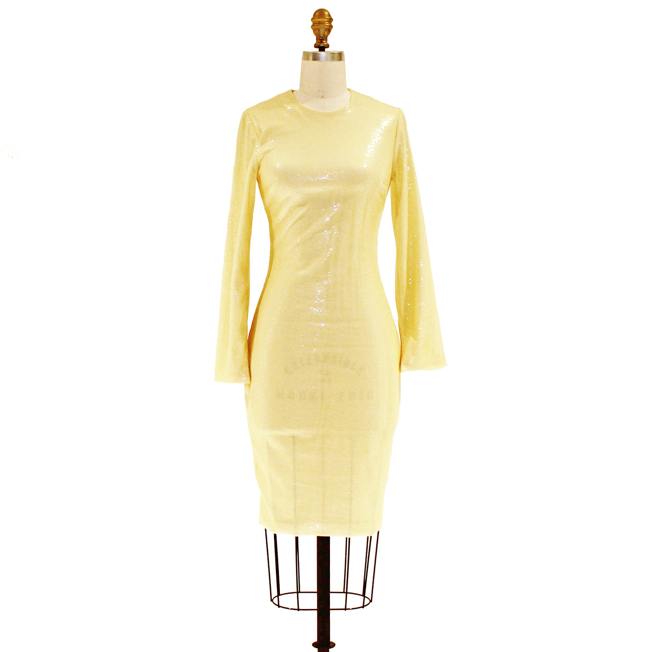 Pale Yellow Long Sleeve Sequin Dress