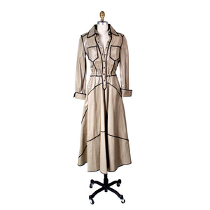 Vintage Leather Trench Coat Dress