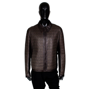 Men's Laser Cut Brown Leather Jacket