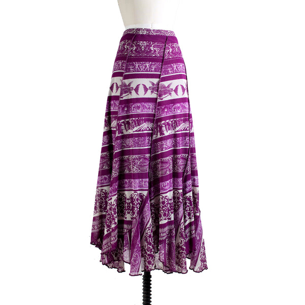 Stretch Mesh Skirt with Tropical Print