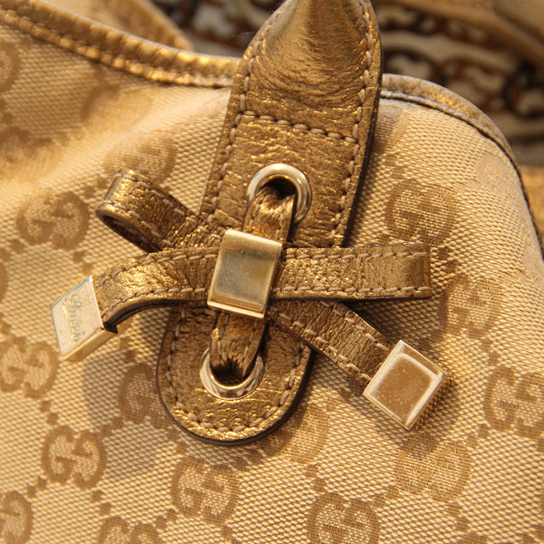 Gucci Beige And Gold Monogram Tote