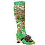 Gucci Green Dragon Embroidered Satin Knee Boots, 2017