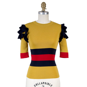 Gucci Striped Ruffle Sweater