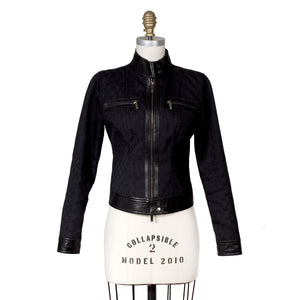 GG Gucci Black Leather and Canvas Moto Jacket, Contemporary