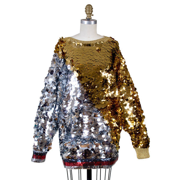 Gucci Gold Silver Metallic Embellished Sweater