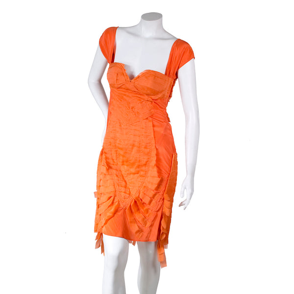 Orange Shredded Silk Dress, Spring 2004