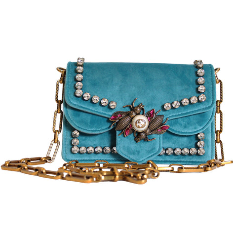 Gucci Teal Broadway Velvet Mini Bag