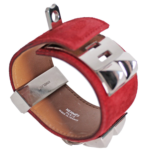 Hermes Muted-Red Suede Collier De Chien Bracelet