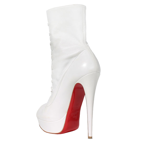 Louboutin White Leather Booties